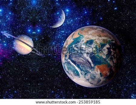 Planets outer astrology space stars Earth moon fantasy. Elements of this image furnished by NASA. - stock photo