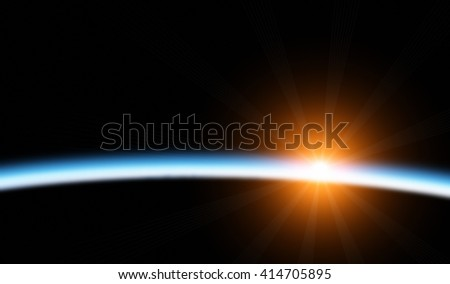 Planets sunrise on a starless background. No elements of NASA or other third party. - stock photo