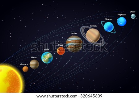 Planets that orbit the sun astronomy educational aid banner diagonal design with black background abstract  illustration - stock photo