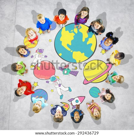 Planets Travel Dream Imagination Playful Space Universe Concept - stock photo