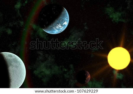 Planets with Sun Flare in Deep Space, Star Nebula against black background