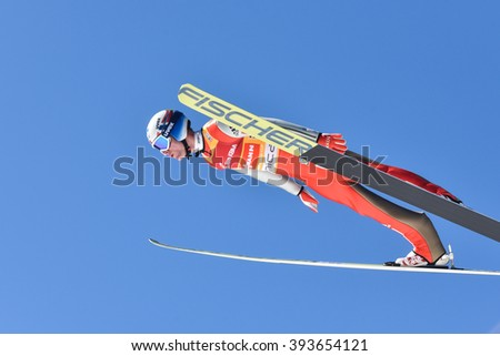 PLANICA, SLOVENIA - MARCH 17 2016 : Fis World Cup Ski Jumping Final -   Kenneth GANGNES -NOR