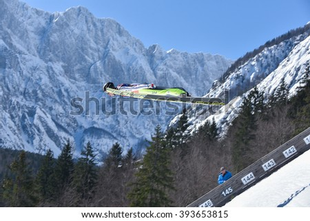 PLANICA, SLOVENIA - MARCH 17 2016 : Fis World Cup Ski Jumping Final -   Roman KOUDELKA -CZE