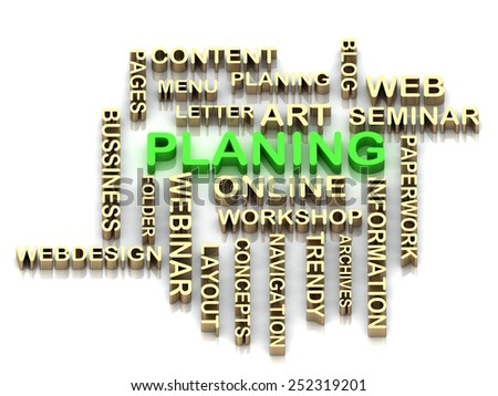 PLANING 3d cross word colour bright letter on white background - stock photo
