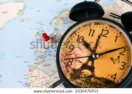 Planing travel france paris worldmap globe stock photo 1030470955 planing for travel to france paris with worldmap globe and alarm clock travel time in gumiabroncs Choice Image