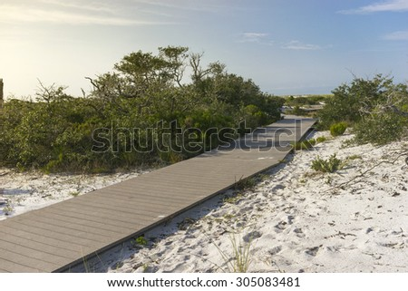 Plank boardwalk through wetlands leading to beach in Pensacola, Florida, early morning, summer - stock photo