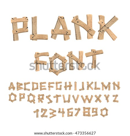 plank font wooden table alphabet old イラスト素材 473356627