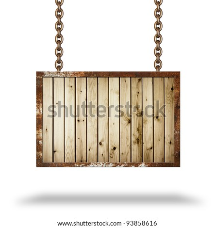 Plank wooden signboard with rusted frame - stock photo