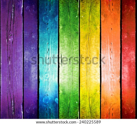 Planks in the colors of the rainbow. Colorful wood background. - stock photo