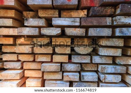 Planks uploaded at a lumberyard - stock photo