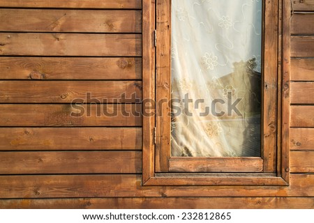 Planks wall with window - stock photo
