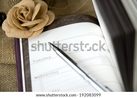 planner book with pen point to monday - stock photo