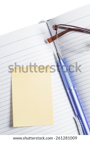 Planner with glasses on a white background isolate. - stock photo