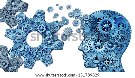 Planning a business using intelligent leadership strategies as a human head shape made with with gears and cogs building an organization symbol shaped as large cog wheels on white.