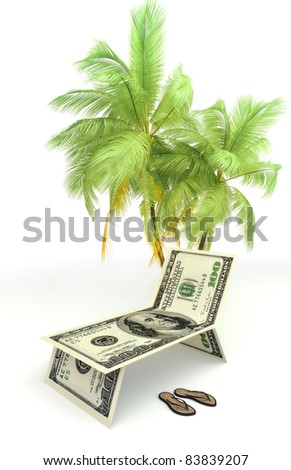 Planning a vacation,tourism,or saving money concept with palms and sandals isolated on a white background - stock photo
