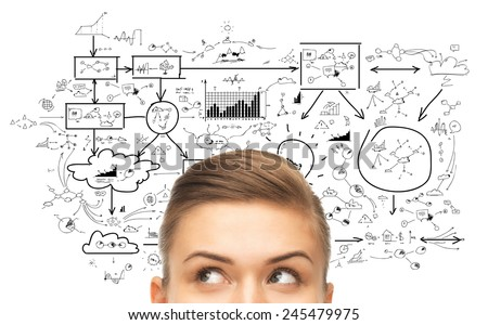 planning, business and people concept - close up of woman looking up to scheme or plan - stock photo