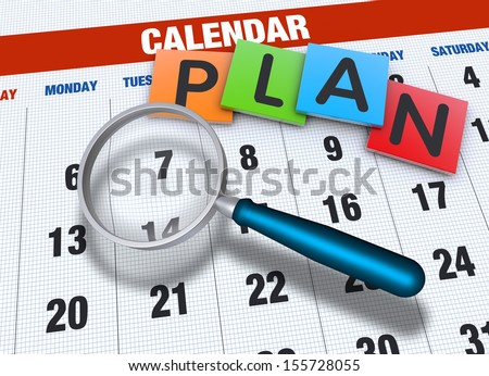 Planning calendar with events concept - stock photo