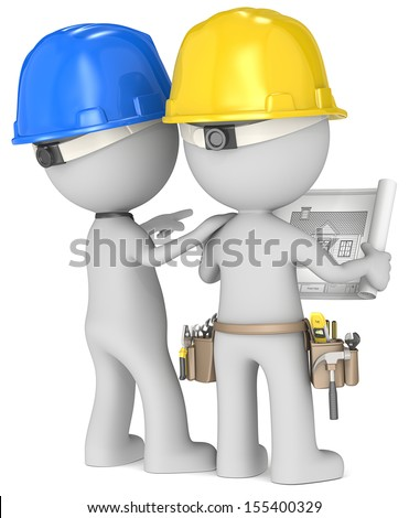 Planning. Dude the Builders x 2 looking at blueprint. Rear view. - stock photo