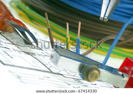 Planning for a home electrical installation - stock photo