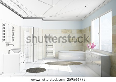 Planning of bathroom with terracotta tiles from moving from CAD blueprint to 3D Rendering - stock photo