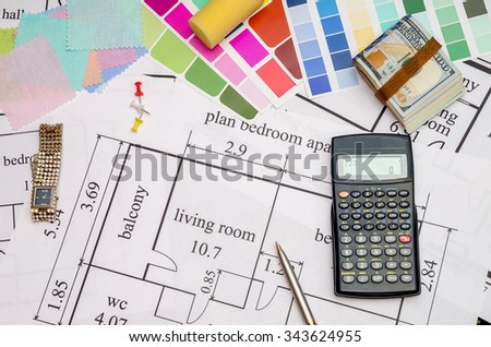 Planning of construction of the house with color pallete, keys, dollar, calculator