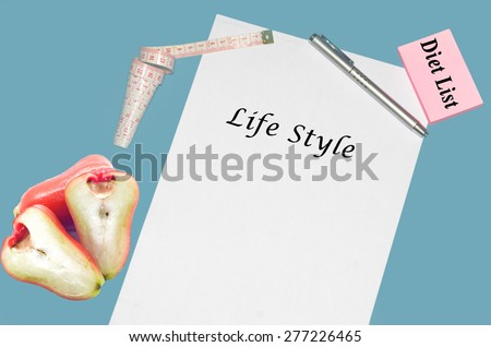"""Planning of diet """"LIFE STYLE"""". isolated on white background - stock photo"""