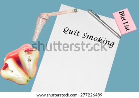 """Planning of diet """"QUIT SMOKING"""". isolated on white background - stock photo"""