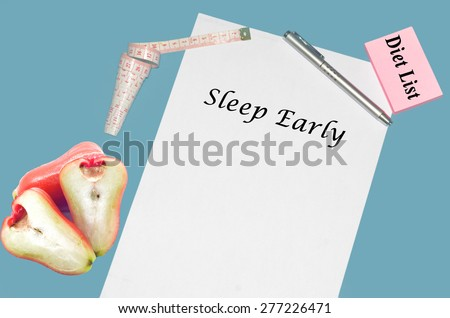 """Planning of diet """" SLEEP EARLY"""". isolated on white background - stock photo"""
