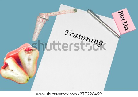 """Planning of diet """"TRAINNING"""". isolated on white background - stock photo"""