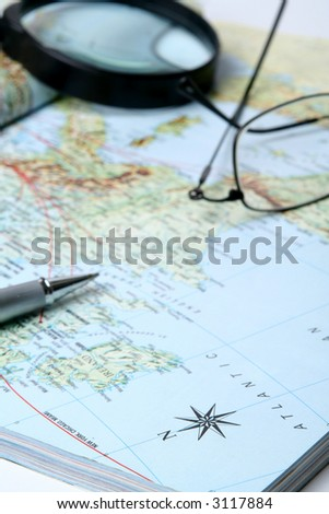 Planning of travel on a vacation on a geographical  map