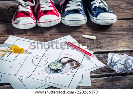 Planning setting players in football - stock photo