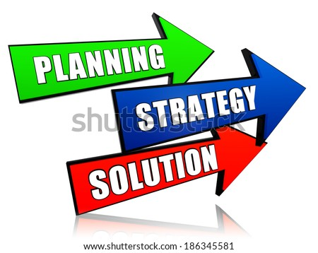 planning, strategy, solution - text in 3d arrows, business growth concept words - stock photo