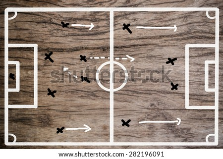 planning team strategy on a wood drawing of a soccer playing field - stock photo