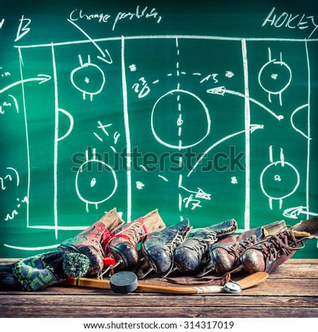 Planning to win in ice hockey - stock photo
