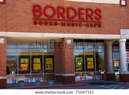 PLANO - APR 5: Taken in Plano, Texas April 5, 2011. Borders Books recently announced the closing of its stores. - stock photo