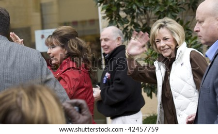 """PLANO, TEXAS - DECEMBER 4:  Former governor Sarah Palin(L) and mother Sally Heath(R) arrive at signing for her book """"Going Rouge"""" in Plano, Texas on December 4, 2009. - stock photo"""