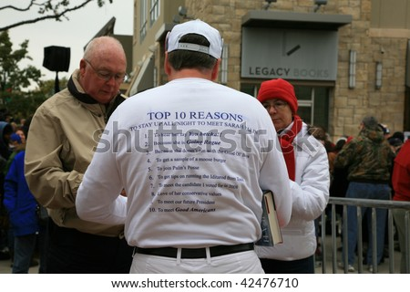 """PLANO, TEXAS - DECEMBER 4: Supporters of former governor Sarah Palin's wait for her to  signing  her book """"Going Rogue"""" in Plano, Texas on December 4, 2009. - stock photo"""
