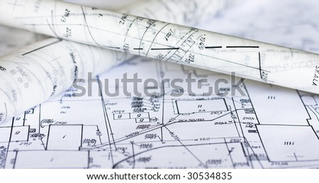 Plans and maps on the table - stock photo