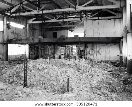 Plant after bombing. Ruins. Black and white photo