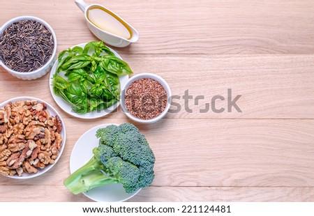 Plant-based sources of Omega-3 acids - stock photo