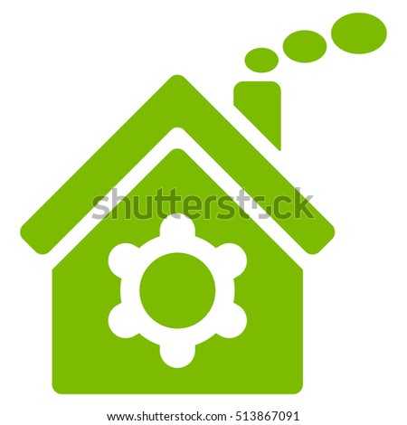 Plant Building icon. Glyph style is flat iconic symbol, eco green color, white background.