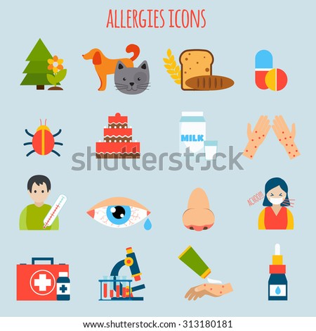 Plant fur wheat insect allergies icon set isolated  illustration - stock photo