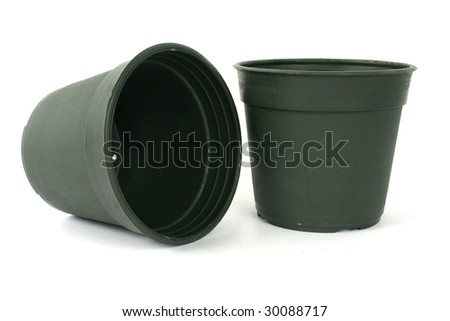 plant pots on white background - stock photo