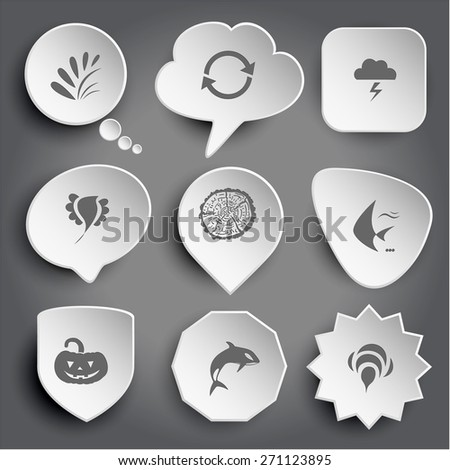 plant, recycle symbol, thunderstorm, bird, cut of tree, fish, pumpkin, killer whale, bee. White raster buttons on gray. - stock photo