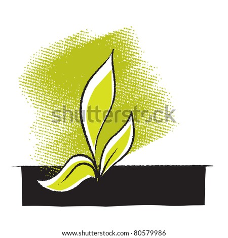 Plant seedling icon, freehand drawing  (raster version) - stock photo