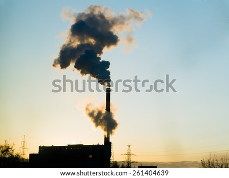 plant smoke pollution - stock photo