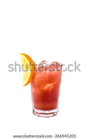Planter's Punch cocktail isolated with clipping path - stock photo