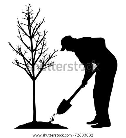 Planting Trees Cartoon Planting a Tree Stock Photo