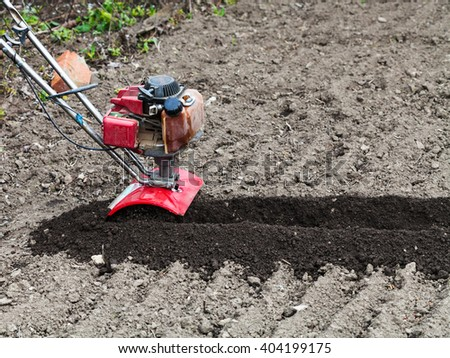 planting vegetables in garden - tiller in loosened seedbed in field in spring