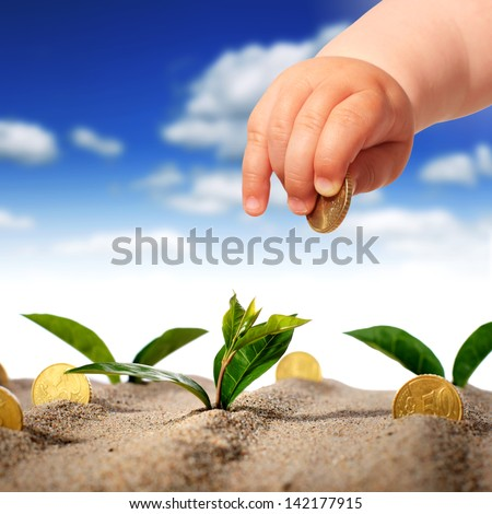 Plants and coins in the sand. - stock photo